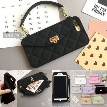 Fashion Soft Silicone Card Bag Metal Clasp Women Handbag Purse Phone Case Cover With Chain For Iphone 7 6 6S Plus