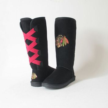 Womens Chicago Blackhawks Victor Boots, Black-Cuce