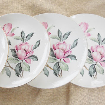 Homer Laughlin Rhythm Dinner Plates, Set of 4, Tea Party, Cottage Style, Shabby Chic, Antique, Pink Magnolia, Ca. 1950's