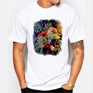 Summer Oil painting lion print O-neck Animal Printed Men T-shirt Tops