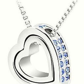 Basket Hill, 18k White Gold Plated, Double Blue Austrian Crystal Heart Necklace