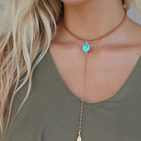 Lisbon Natural Turquoise Choker With Long Chain And Leaf