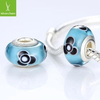 925 Sterling Silver DIY Murano Glass Beads Fit Pandora Bracelet Bangles Charms For Wom