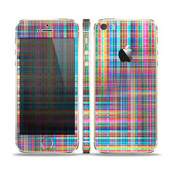The Neon Faded Rainbow Plaid Skin Set for the Apple iPhone 5s