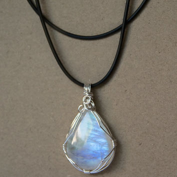 Rainbow Moonstone Wire-wrapped Necklace