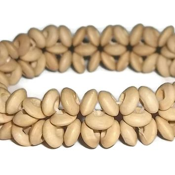 Vintage Natural Wood Floral Beaded Artisan Crafted Stretch Bracelet ca.1980's