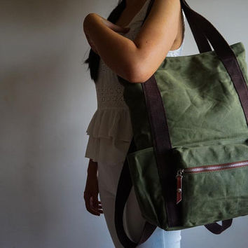 Convertible Waxed Canvas Backpack, 8 Pockets, Canvas Diaper Backpack, Laptop Backpack, Waxed Canvas Tote, Olive green