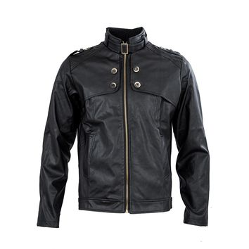 SODIAL Men Clothing Slim Fit Stand Collar Motorcycle Synthetic Leather Jacket Outwear - Black M