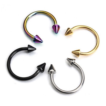 10pcs Gold Silver Stainless Steel Circular Arrow Horseshoe Nose Ring Tragus Labret Lip Piercing Body Jewelry for Women Men F3890