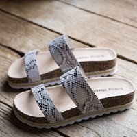 Double Play Print Sandal, Snake White   Dirty Laundry