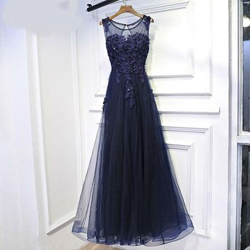 New sexy women evening dress boat neck royal blue elegant design noble long flower lace formal dresses