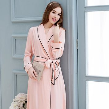 Women Bathrobes Long-Sleeved Pure Cotton