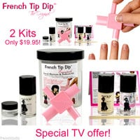 2 x French Tip Dip Essentials Instant French Manicure & Pedicure Nail Polish Kit