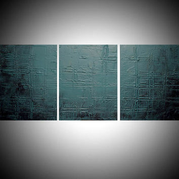 "LARGE WALL ART triptych 3 panel wall contemporary art ""Turquoise Trance"" canvas original painting abstract canvas pop wall kunst 48 x 20"