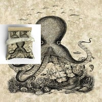 Octopus Bedding, Steam Punk Nautical -Octopus Tentacles, Grunge-Beige  , Comforter, Duvet Cover, Duvet Set , Bedding Set