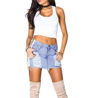 Cotton Mini Jeans Skirts