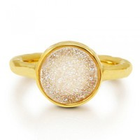Round Shape White Natural Drusy Quartz Gold Plated Brass Fashion Ring #r700-W