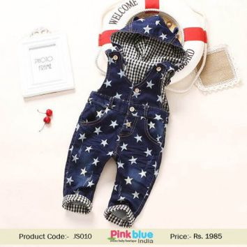 Childrens Hooded Overall Denim Jeans Jumpsuit in Pentagram Print