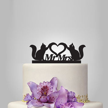 cats and mr mrs Wedding Cake topper with heart, silhouette cake topper, heart weding cake topper, birthday cake topper, funny cake topper,