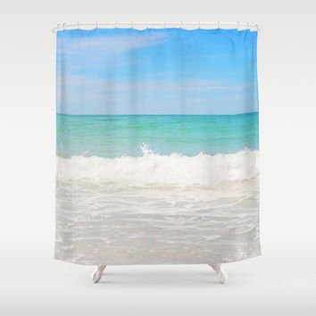 Beach Anna Maria 4 - Shower Curtain, Pastel Colored Ocean Seascape Hanging Tub Vanity Bathroom Backdrop Accent Curtain. In 71x74 Inches