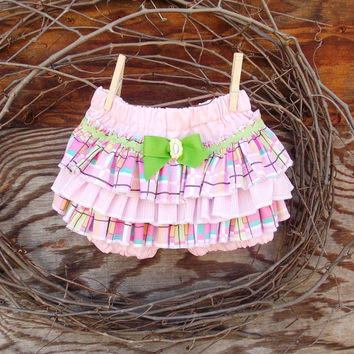 Ruffled Baby Bloomers, diaper cover,Spring, Easter, Pink, Photo Prop size 9 months,
