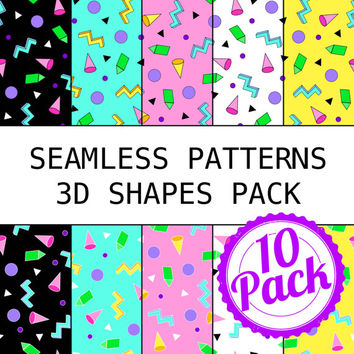 Seamless Patterns JPG Files - 90s 3D Shapes Pack - Digital Scrapbook Paper Pack