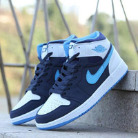 Nike Air Jordan Retro 1 High Tops Contrast Sports shoes Black White Blue hook G-CSXY