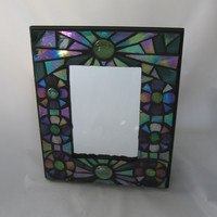 Iridized Aqua Green & Purple Stained Glass Mosaic Mirror Oil Slick Glass