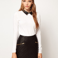 ASOS Jumper With Leather Look Collar at asos.com