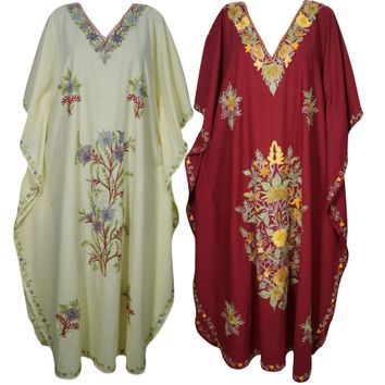 Mogul Womens Beige Maroon Maxi Indian Caftan Beautiful Floral Embroidered Kimono Sleeves Stylish Evening Dress Lot Of 2Pcs - Walmart.com