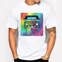New fashion men's Hippie Van Dripping Rainbow Paint neon color printed t-shirt male short sleeve casual tee funny cool tops