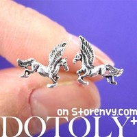 Unicorn Mythical Creatures Animal Shaped Stud Earrings in Sterling Silver