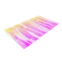 "Frederic Levy-Hadida ""Jungle Stripes Pink"" Yellow Painting Woven Area Rug"