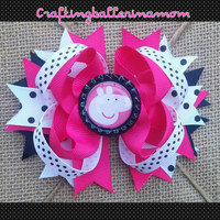 Peppa Pig Hair Bow - Peppa Pig Pigtail Bows - Polka Dot - Stacked Layered Hair Bow - Peppa Hair Clip - Hot Pink Black - Bottle cap - Costume
