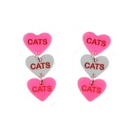 Cats Cats Cats Candy Heart Post Dangle Earrings
