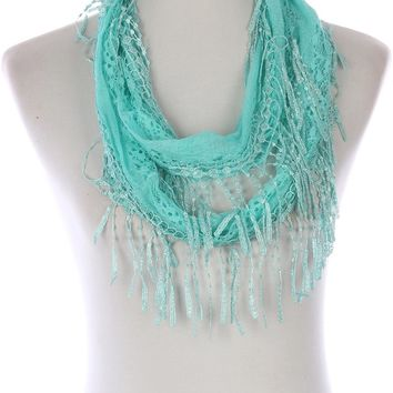 Mint Green Crochet Fringed Lace Infinity Scarf