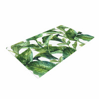 "Kess Original ""Banana Leaves"" Green White Woven Area Rug"
