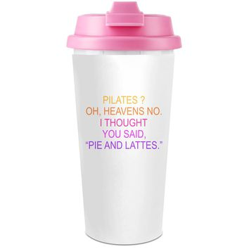 Pilates Oh Heavens No Funny Slogan  Plastic Travel Coffee Cup - 450 ml - Enjoy Your Drinks Everywhere