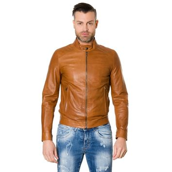 Men's Leather Jacket korean collar two pockets tan color Ted