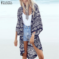 S-6XL Fashion Women Summer Blouse Beach Boho Kimono Cardigan Floral Printed 3/4 Sleeve Casual Loose Long Beach Coat Tops