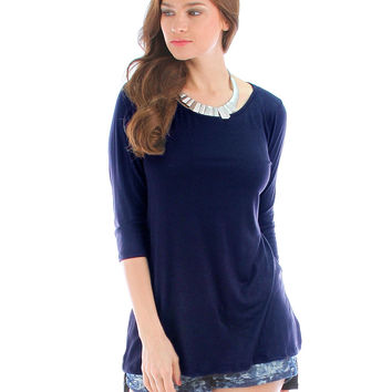 NAVY HI-LO TUNIC TOP WITH SIDE SLITS