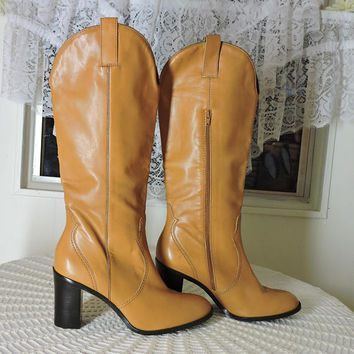 Tall taupe brown leather boots / size 10 / western style knee high boots / Brazilian made  / tall cognac brown cowboy boots