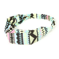 Black and Pastel Aztec Print Twist Headwrap