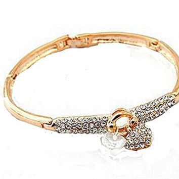 Basket Hill Silver Plated or Gold Plated ,Zircon and Two (2) Heart Bangle Bracelet