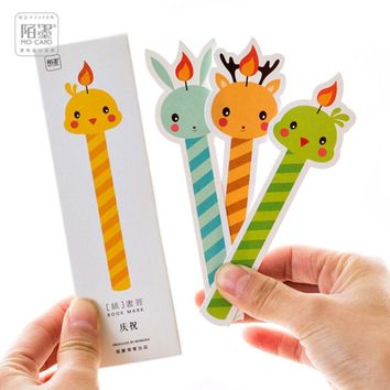 30 pcs/box MO.CARD Cartoon animal candle bookmark cartoon paper bookmarks kawaii stationery school supplie papelaria kids gifts