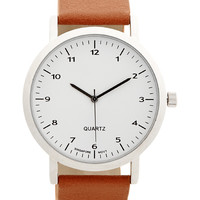 Minimalist Analog Faux Leather Watch