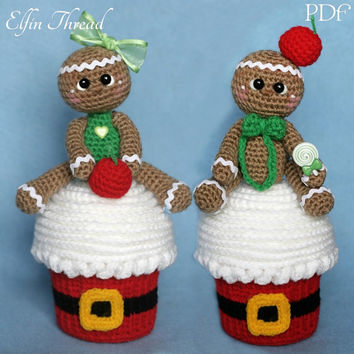 Elfin Thread- Giant Christmas Cupcake with Gingerbread Man Topper Amigurumi PDF Pattern (Crochet cupcake, Crochet gingerbread doll)