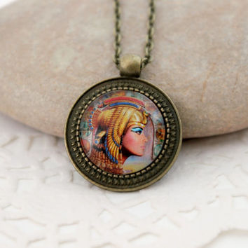 Egypt Motives, Queen Of Egypt Amulet,Antique Bronze Pendant,Glass Cabochon Pendant With Chain