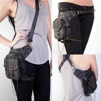 CREYLD1 New Women MEN Rock Leather Steampunk Skull Bag Steam Punk Retro Rock Gothic Shoulder Waist Bags Packs Victorian