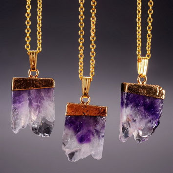 Natural Stone Purple Amethyst  Chunk Necklace in Gold Boho Chic